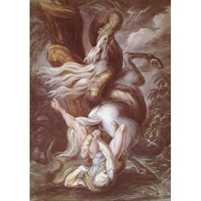 Puzzle  Grafika-00473 Henry Fuseli: Cavalier attaqué par un Serpent Géant, vers 1800