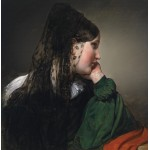 Puzzle  Grafika-00484 Friedrich von Amerling: Mädchen im Profil mit schwarzer Mantille, 1887