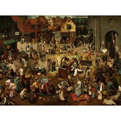 Puzzle Grafika-00700 Brueghel Pieter: Der Kampf zwischen Karneval und Fasten, 1559