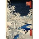Puzzle  Grafika-00770 Utagawa Hiroshige: Drum bridge at Meguro and Sunset Hill, 1857