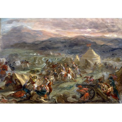 Puzzle  Grafika-00779 Eugène Delacroix: Botzaris überrascht das türkische Lager im Sonnenaufgang, 1860-62