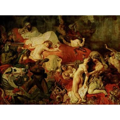 Puzzle  Grafika-00781 Eugène Delacroix: Der Tod des Sardanapal, 1827