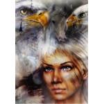 Puzzle  Grafika-00785 Die Frau, der Adler und das Pferd