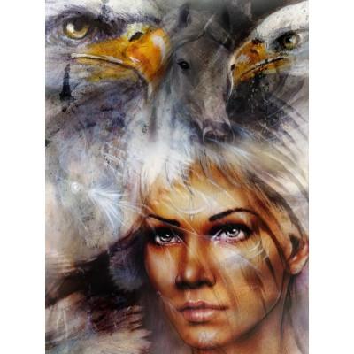 Puzzle Grafika-00786 Die Frau, der Adler und das Pferd