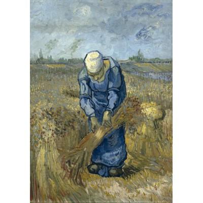 Puzzle  Grafika-00850 Vincent van Gogh: Bäuerin beim Strohschneiden (nach Millet)