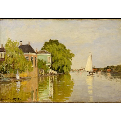 Puzzle  Grafika-01118 Claude Monet: Houses on the Achterzaan, 1871