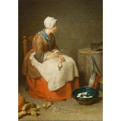 Puzzle  Grafika-01122 Jean Siméon Chardin - Die Rübenputzerin, 1738