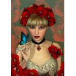 Puzzle  Grafika-01154 Frau und Schmetterling