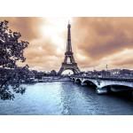 Puzzle  Grafika-01197 Der Eiffelturm an einem regnerischen Wintertag