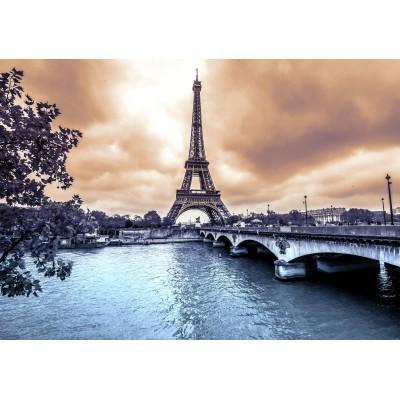 Puzzle  Grafika-01198 Der Eiffelturm an einem regnerischen Wintertag