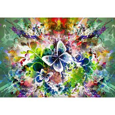 Puzzle Grafika-01301 Frühlingsblumen und Schmetterlinge