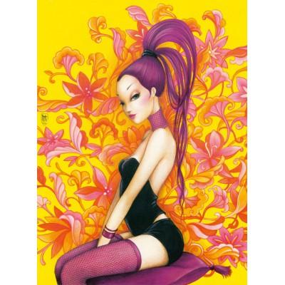 Puzzle  Grafika-01357 Misstigri: Miss Purple