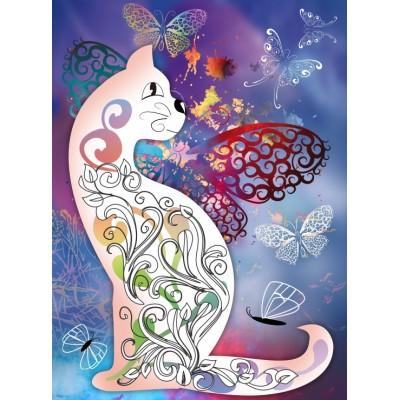 Puzzle  Grafika-01508 Katze und Schmetterlinge