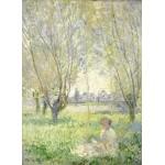 Puzzle  Grafika-01539 Claude Monet - Frau unter Weiden sitzend, 1880
