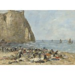 Puzzle  Grafika-01601 Eugène Boudin: Washerwomen on the Beach of Etretat, 1894