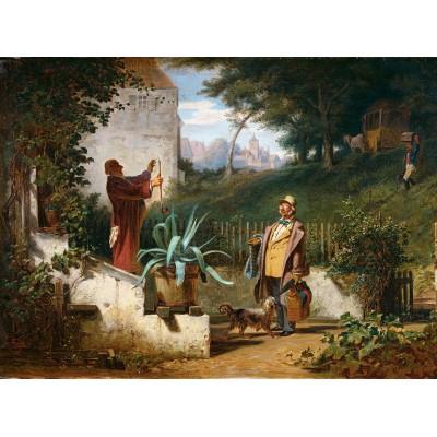 Puzzle  Grafika-01715 Carl Spitzweg - Jugendfreunde, 1855