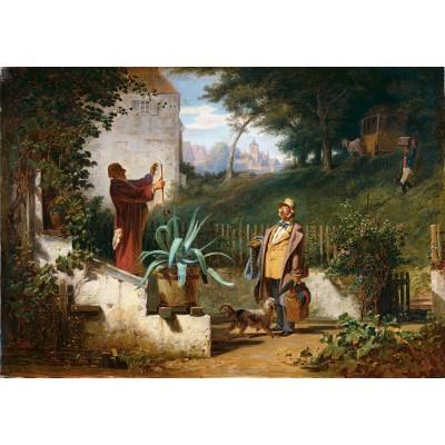 Puzzle  Grafika-01716 Carl Spitzweg - Jugendfreunde, 1855