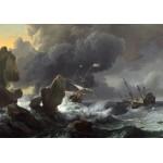 Puzzle  Grafika-01778 Ludolf Backhuysen: Ships in Distress off a Rocky Coast, 1667