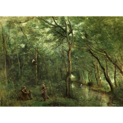 Puzzle  Grafika-01945 Jean-Baptiste-Camille Corot: The Eel Gatherers, 1860-1865