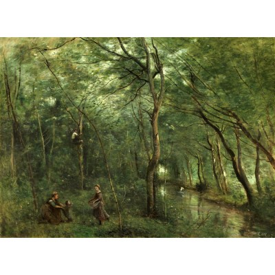 Puzzle  Grafika-01947 Jean-Baptiste-Camille Corot: The Eel Gatherers, 1860-1865
