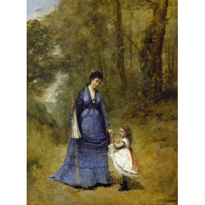 Puzzle  Grafika-01948 Jean-Baptiste-Camille Corot: Madame Stumpf and Her Daughter, 1872