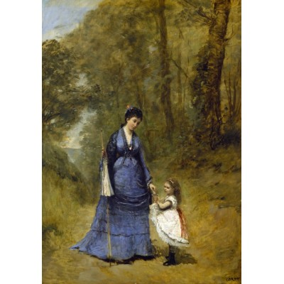 Puzzle  Grafika-01949 Jean-Baptiste-Camille Corot: Madame Stumpf and Her Daughter, 1872