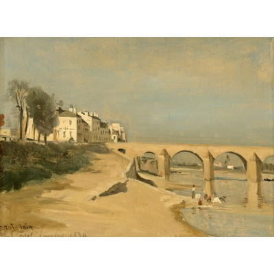 Puzzle  Grafika-01953 Jean-Baptiste-Camille Corot: Bridge on the Saône River at Mâcon, 1834