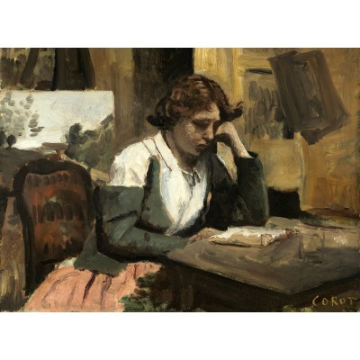 Puzzle  Grafika-01959 Jean-Baptiste-Camille Corot: Young Girl Reading: Young Girl Reading, 1868