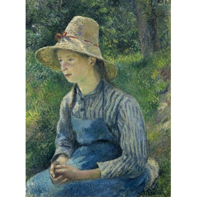 Puzzle  Grafika-02030 Camille Pissarro: Peasant Girl with a Straw Hat, 1881