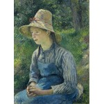Puzzle  Grafika-02032 Camille Pissarro: Peasant Girl with a Straw Hat, 1881