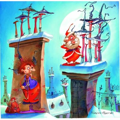 Puzzle  Grafika-02143 François Ruyer - Die Hexe und der Weihnachtsmann