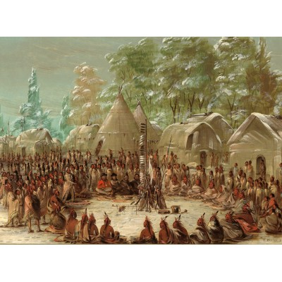 Puzzle  Grafika-02222 George Catlin: La Salle's Party Feasted in the Illinois Village. January 2, 1680, 1847-1848