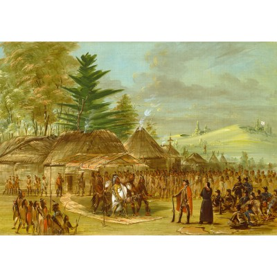 Puzzle  Grafika-02230 George Catlin: Chief of the Taensa Indians Receiving La Salle. March 20, 1682, 1847-1848