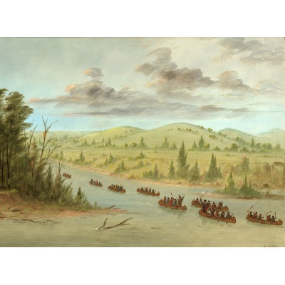 Puzzle  Grafika-02235 George Catlin: La Salle's Party Entering the Mississippi in Canoes. February 6, 1682, 1847-1848