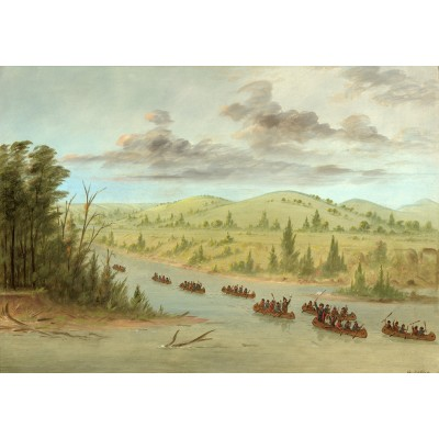 Puzzle  Grafika-02236 George Catlin: La Salle's Party Entering the Mississippi in Canoes. February 6, 1682, 1847-1848