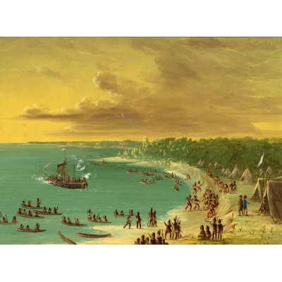 Puzzle  Grafika-02238 George Catlin: First Sailing of the Griffin on Lake Erie. August 7, 1679, 1847-1848