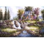 Puzzle  Grafika-02486 Dennis Lewan - Alpine Falls