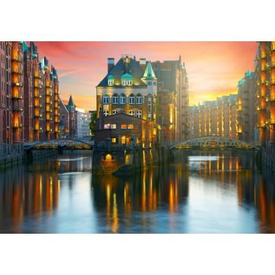 Puzzle Grafika-02511 Deutschland Edition - Hamburg, Alte Speicherstadt