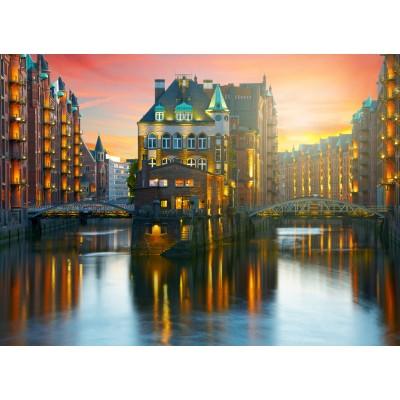 Puzzle Grafika-02512 Deutschland Edition - Hamburg, Alte Speicherstadt