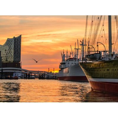 Puzzle Grafika-02513 Deutschland Edition - Hamburger Hafen mit Elbphilharmonie