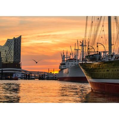 Puzzle Grafika-02515 Deutschland Edition - Hamburger Hafen mit Elbphilharmonie