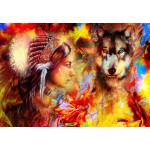 Puzzle  Grafika-02675 Die indische Frau und der Wolf