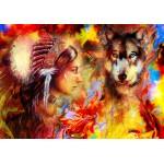 Puzzle  Grafika-02677 Die indische Frau und der Wolf