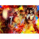 Puzzle  Grafika-02678 Die indische Frau und der Wolf