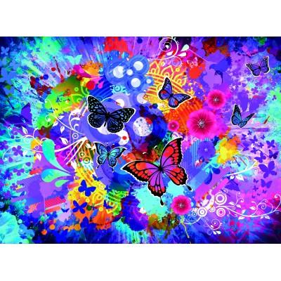 Puzzle  Grafika-02718 Bunte Blumen und Schmetterlinge