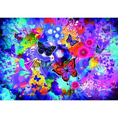 Puzzle  Grafika-02719 Bunte Blumen und Schmetterlinge