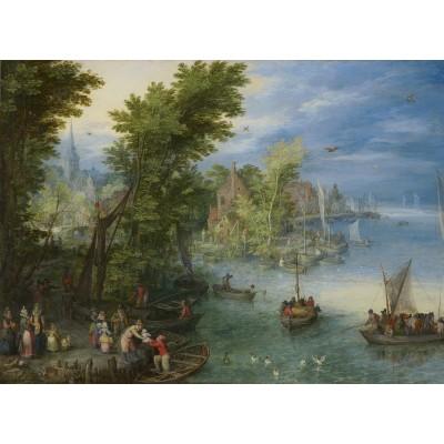 Puzzle  Grafika-02797 Jan Brueghel - River Landscape, 1607