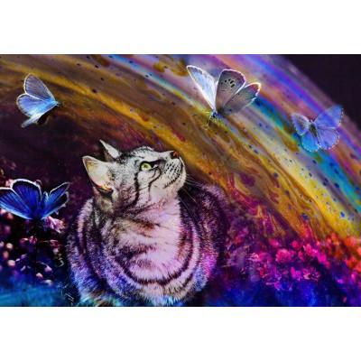 Puzzle  Grafika-02820 Katze und Schmetterlinge