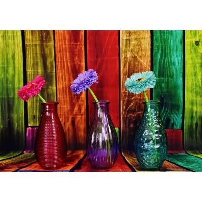 Puzzle Grafika-02822 Geblühte und bunte Vasen