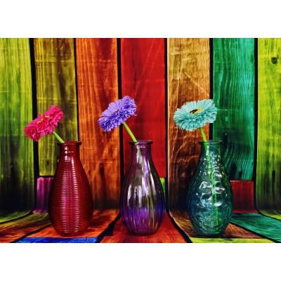 Puzzle  Grafika-02823 Geblühte und bunte Vasen